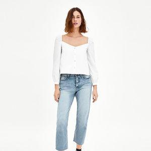 NWT Zara White Button Down Blouse